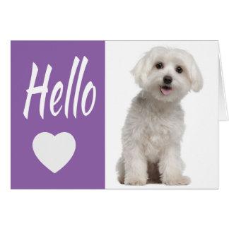 Hond Purple Heart Notecar van het Puppy van Hello Kaart