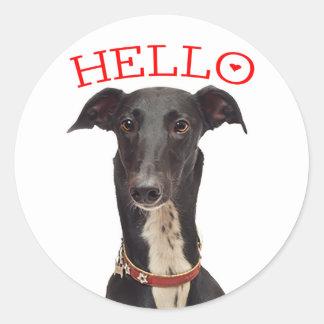 Hond Rood Hello van het Puppy van de windhond de Ronde Stickers