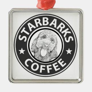 hond Starbucks Zilverkleurig Vierkant Ornament