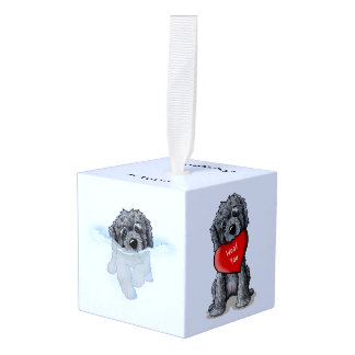 Hond van de Krabbel van DoodleMoji de ZWARTE Kubus Ornament 1