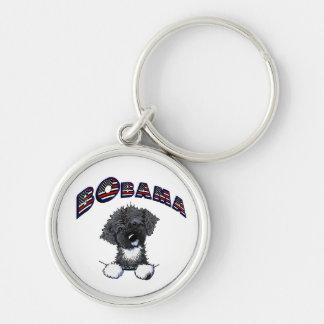 Hond van het Water van BO Obama de Portugese Zilverkleurige Ronde Sleutelhanger