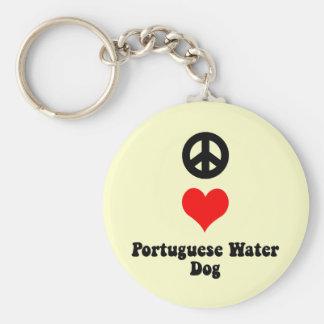 Hond van het Water van de liefde van de vrede de P Basic Ronde Button Sleutelhanger