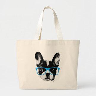 Hond van Nerdy van de Buldog van Hipster de Franse Grote Draagtas