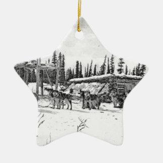 Honden die de van Alaska van de Slee zich buiten Keramisch Ster Ornament
