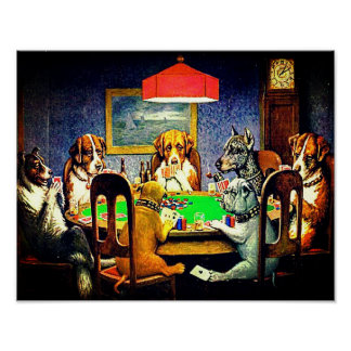 Honden die Pook spelen Poster