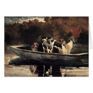 Honden in een Boot Wenskaart