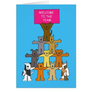 Honden, onthaal aan het team wenskaart