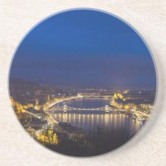 Hongarije Boedapest bij nachtpanorama Zandsteen Onderzetter
