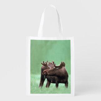 Hongerige Amerikaanse elanden met de Geweitakken Herbruikbare Boodschappentassen
