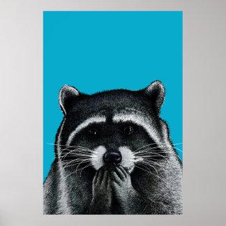 Hongerige Wasbeer op blauw Poster