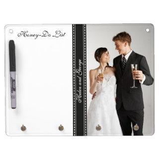 Honing-maken van voor de Foto van het Huwelijk een Whiteboard Met Sleutelhanger