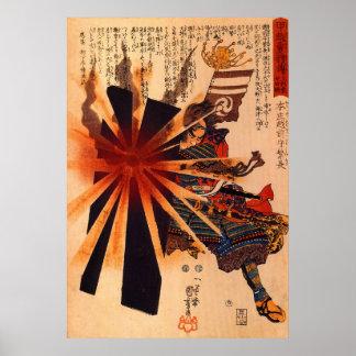 Honjo Shigenaga Parriying Exploderend Shell Poster