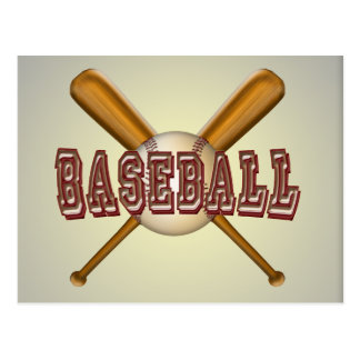 Honkbal en de Gekruiste Knuppels van het Honkbal Briefkaart