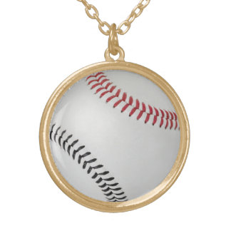 Honkbal Fan-tastic_Color Laces_rd_bk Goud Vergulden Ketting