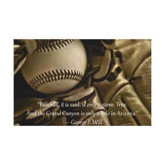 Honkbal, Handschoen en George Will Quote Stretched Canvas Afdrukken