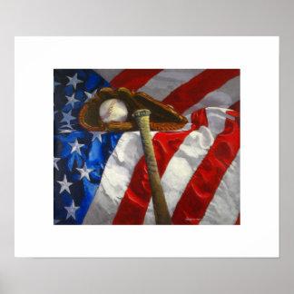 Honkbal, handschoen, knuppel & Amerikaans Poster
