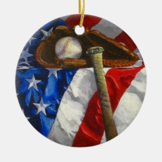 Honkbal, handschoen, knuppel & Amerikaanse vlag Rond Keramisch Ornament