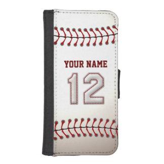 Honkbal met Klantgerichte Naam Nummer 12 iPhone 5 Portemonnee Hoesje
