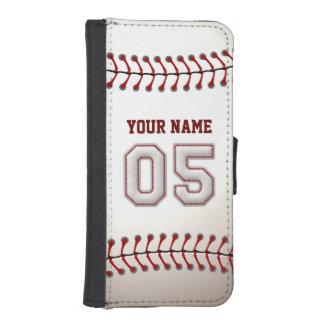 Honkbal met Klantgerichte Naam Nummer 5 iPhone 5 Portemonnee Hoesje