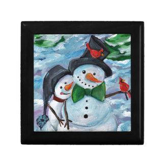 Hoofd bezoekende Sneeuwmannen Decoratiedoosje