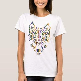 Hoofd dat van de Wolf van de regenboog het Stammen T Shirt