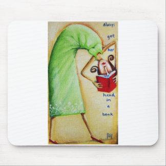 Hoofd in een Boek Mousepad Muismat