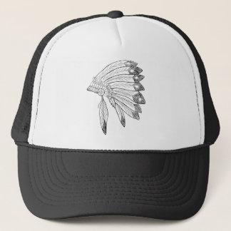 Hoofddeksel - Inheemse Amerikaanse Illustratie Trucker Pet