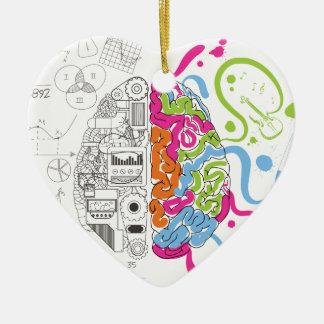 HoofdKant van de Mening van de Hersenen van Keramisch Hart Ornament
