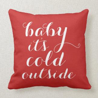 Hoofdkussen | Baby het is Koude Buitenkant - rood Kussen