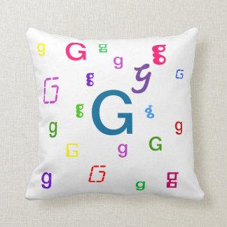 Hoofdkussen G van de Brief van het alfabet het Sierkussen