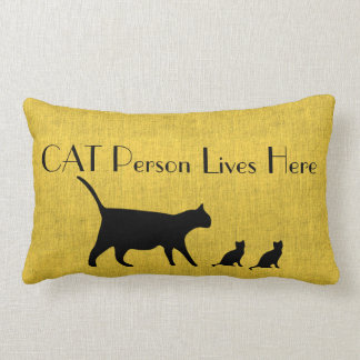 Hoofdkussen van de Persoon van de kat het Gele en Lumbar Kussen