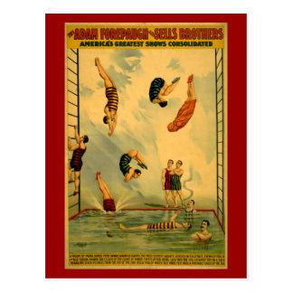 Hoog duik/het Duiken het Poster van het Circus Briefkaart