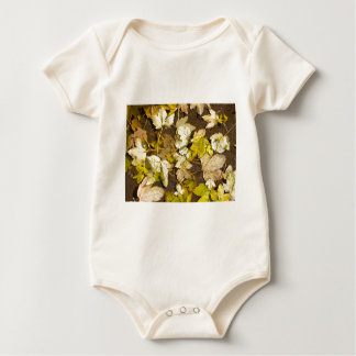 Hoogste uitzicht van bladeren van een de natte de baby shirt