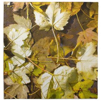 Hoogste uitzicht van de natte herfstbladeren servet