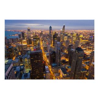 Horizon de van de binnenstad van Chicago bij schem Perfect Poster