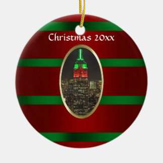 Horizon NYC: Kerstmis van de Nacht van het Empire Rond Keramisch Ornament