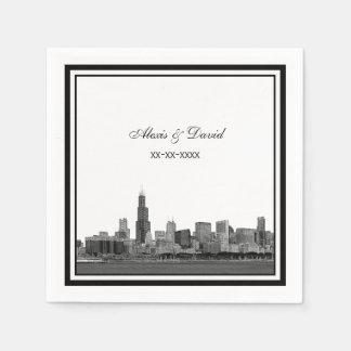 Horizon van Chicago #2 etste Ontworpen Huwelijk Papieren Servet