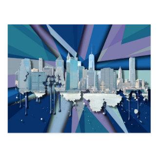 Horizon | van de Stad van New York Blauwe 3D Briefkaart