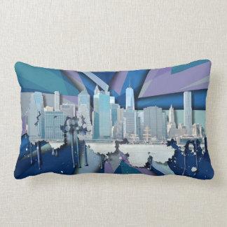 Horizon   van de Stad van New York Blauwe 3D Lumbar Kussen