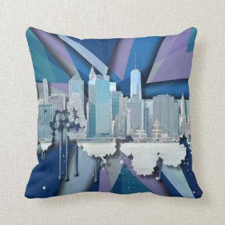 Horizon   van de Stad van New York Blauwe 3D Sierkussen