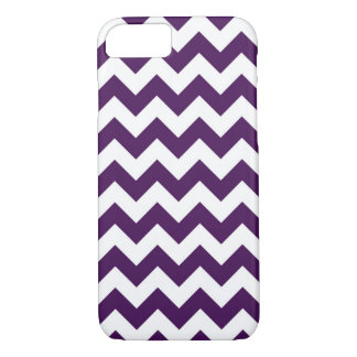 Horizontale Paarse en Witte Zigzag iPhone 7 Hoesje