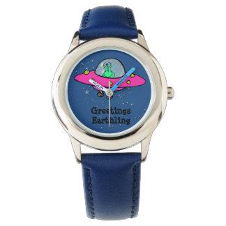 Horloge van het Leer van het kind het Blauwe met