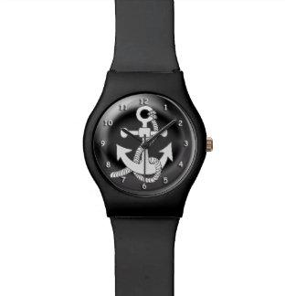 Horloge - Wit Anker op 3D zwarte achtergrond
