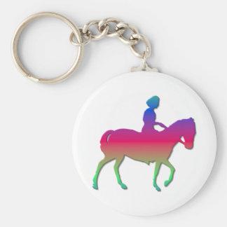 Horseback het berijden basic ronde button sleutelhanger