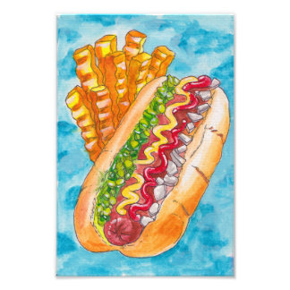 Hotdog en Gebraden gerechten Foto Afdruk