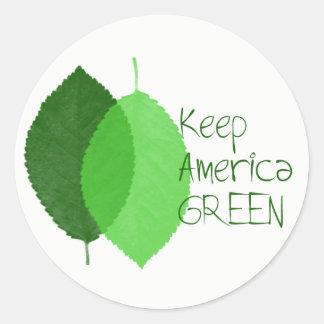 Houd de Groene Ronde Sticker van Amerika