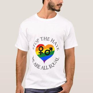 Houd de haat tegen wij allen evenaren mannen witte t shirt