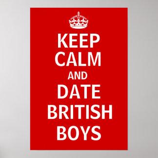 Houd de Kalme en Britse Jongens van de Datum Poster