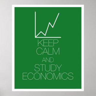Houd de Kalme en Economie van de Studie Poster
