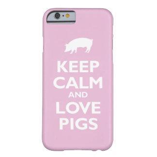 Houd de Kalme en (lichtrose) Varkens van de Liefde Barely There iPhone 6 Hoesje